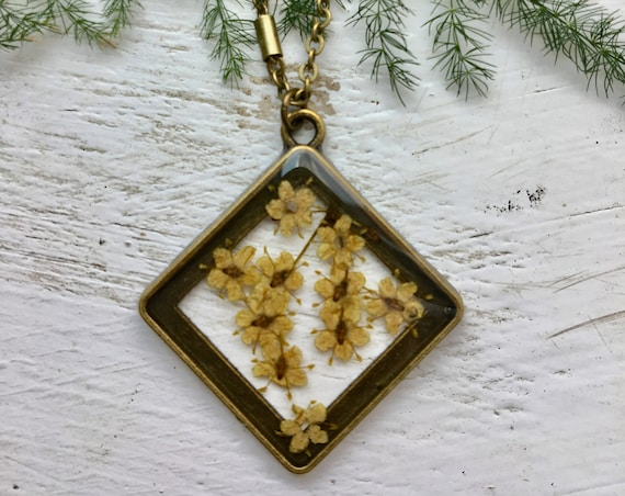 Antique bronze necklace with real elderflowers