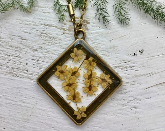 Antique bronze necklace with real elderflowers