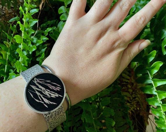 Fancy wild grass seed cuff bracelet