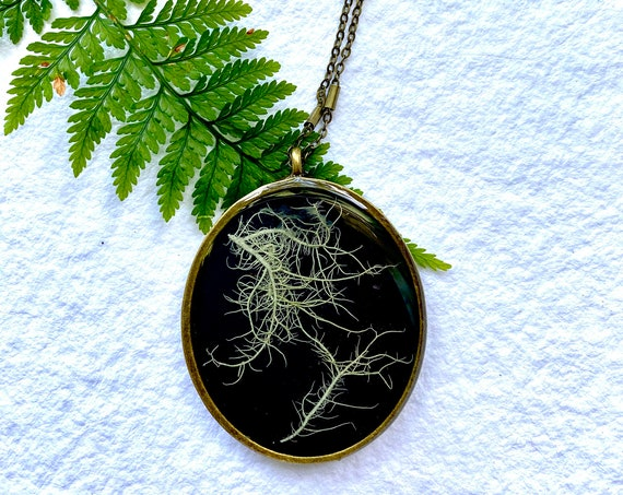 Antique bronze chunky tree lichen necklace