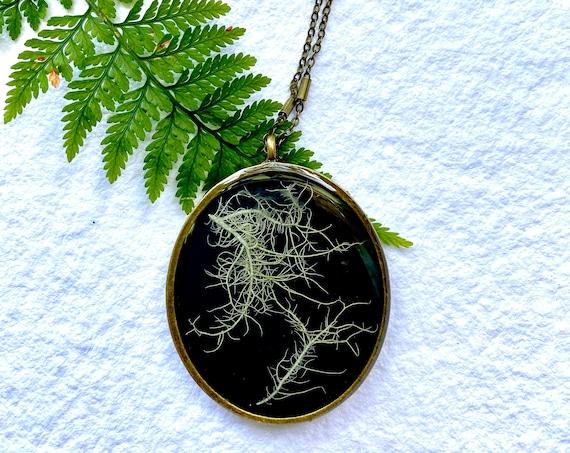 Antique bronze chunky tree lichen necklace