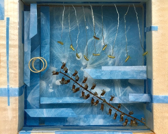 cyanotype collage with brass and amaryllis stamens wall hanging