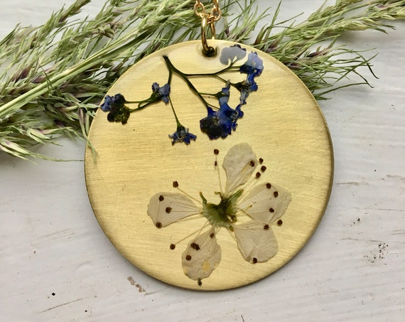 Cherry blossom and Forget me not brass necklace
