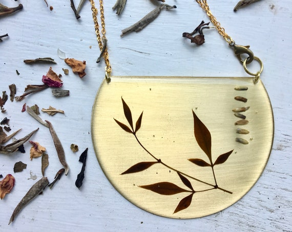 Nandia and lavender brass statement necklace