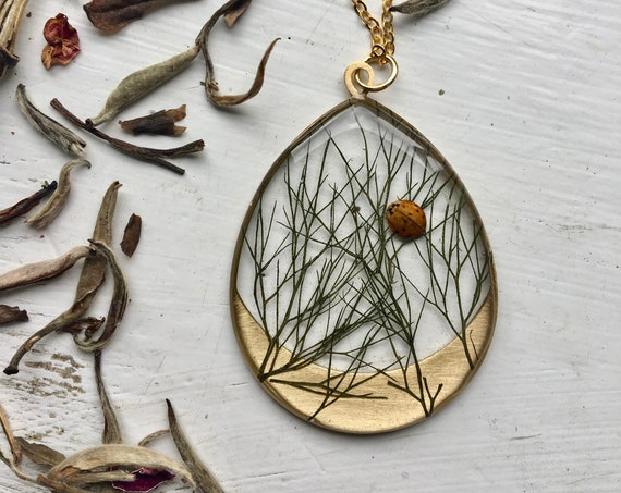 Bronze fennel and real ladybug necklace
