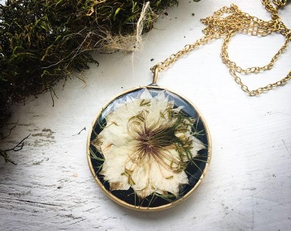 Nigella brass necklace