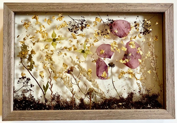 French poppy and gold leaf wall hanging