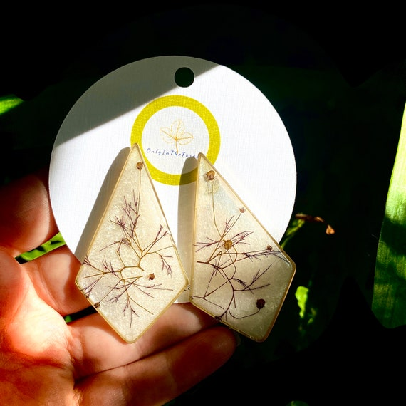 Smokebush polygon large post earrings nature boho hippie