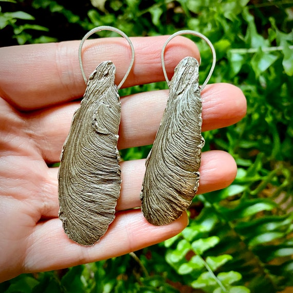 Recycled Silver silver maple seed necklace #1