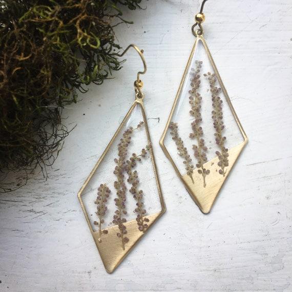 Mystery plant diamond brass earrings