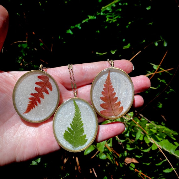 Antique bronze fern necklaces
