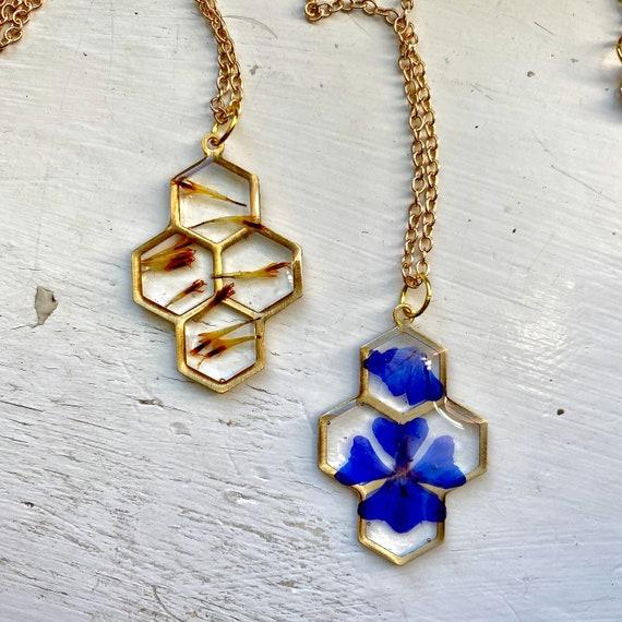 plumago or cosmos stamen honeycomb necklaces