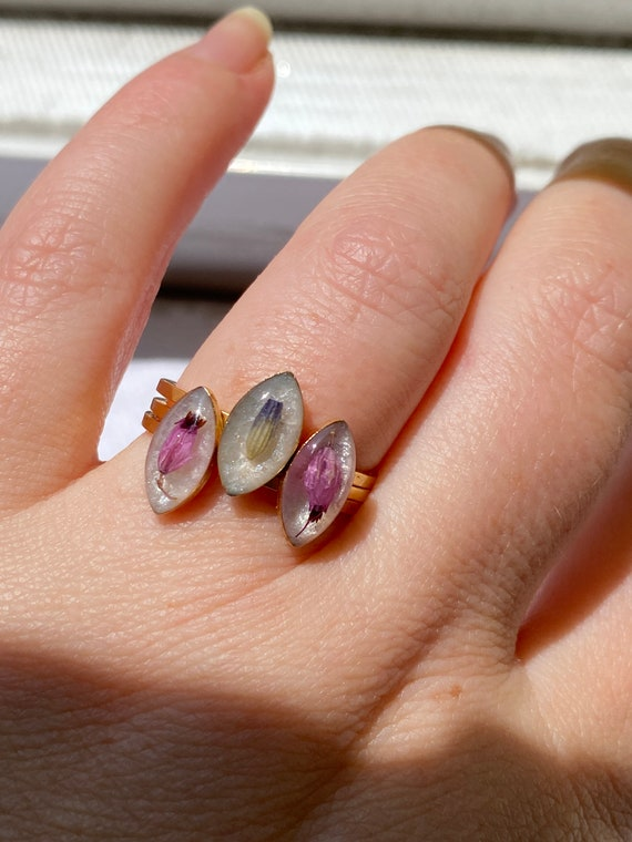 Gold heather or lavender bud stackable rings size 8 foraged resin handmade boho