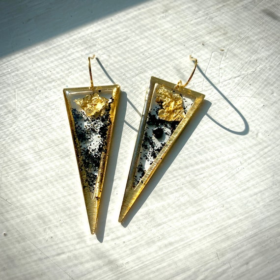 Icelandic black sand and gold flake gold triangle earrings