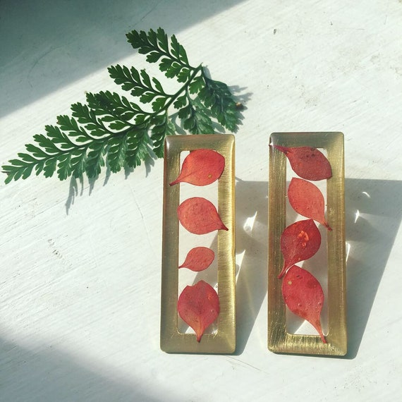 Barberry leaf large rectangle post earrings