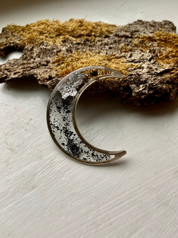 Icelandic black sand and silver flake silver Crescent moon necklace