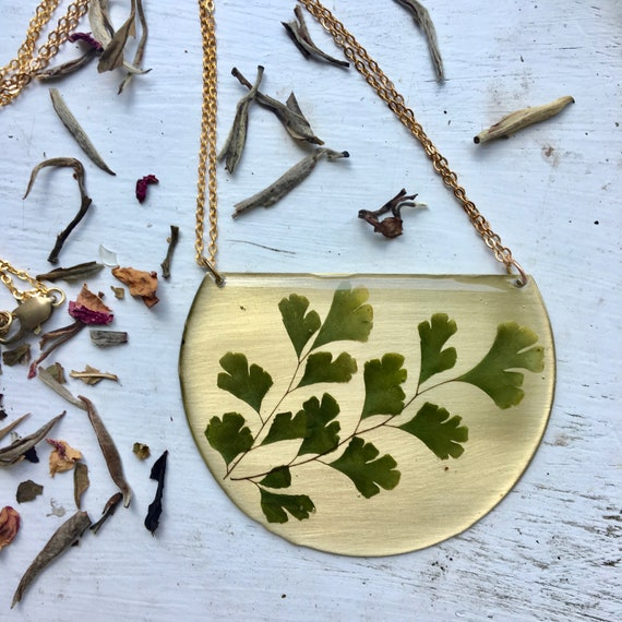 Maidenhair fern brass statement necklace
