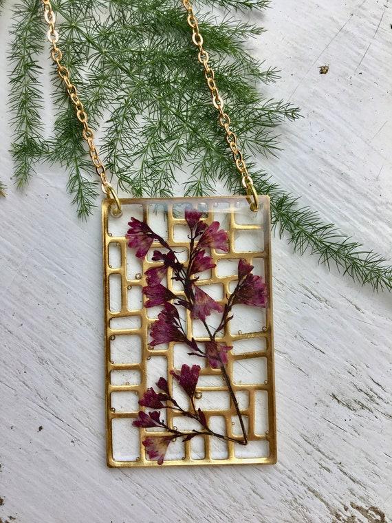 Coral bells flower brass filigree plaque necklace