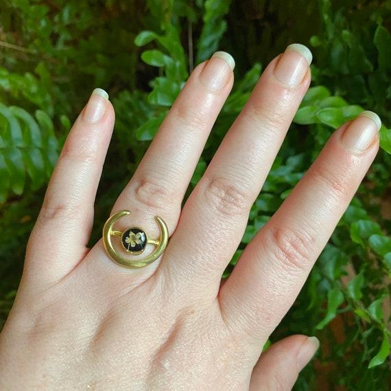 Elderflower adjustable crescent ring