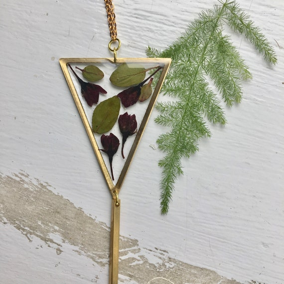 Triangle Cherry flower bud dangly necklace