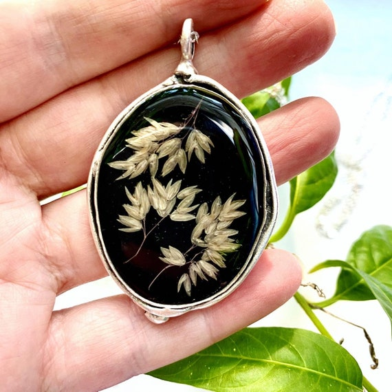 Wild grass seed fancy silver necklace