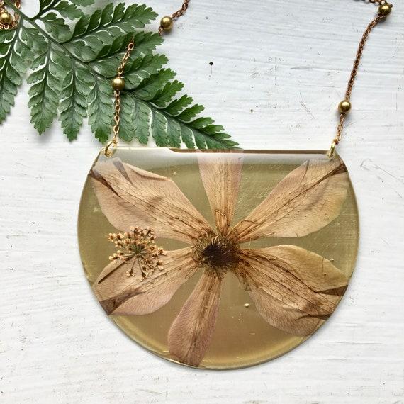 Clematis flower brass statement necklace