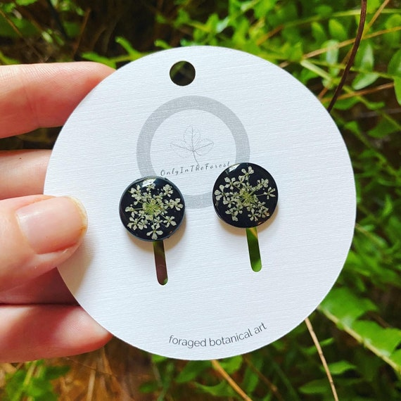 poison hemlock black stud earrings goth