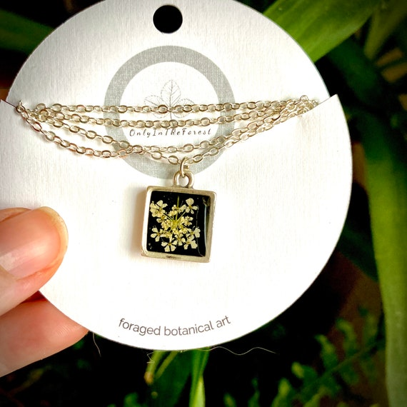 Bitty poison hemlock silver square necklace