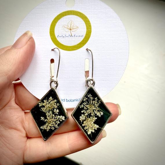 Poison hemlock silver diamond earrings