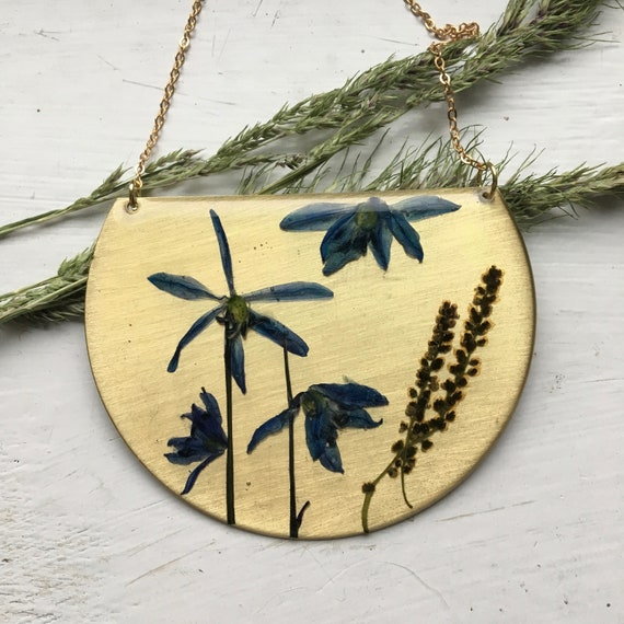 Squilla flower brass statement necklace