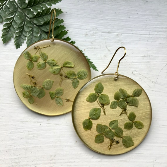 Green hydrangea large brass circle danglies