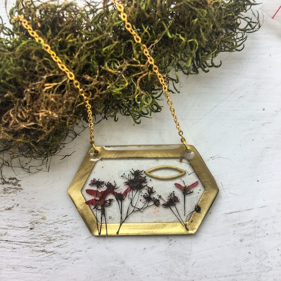 Japanese maple flower and seed hexagon necklace