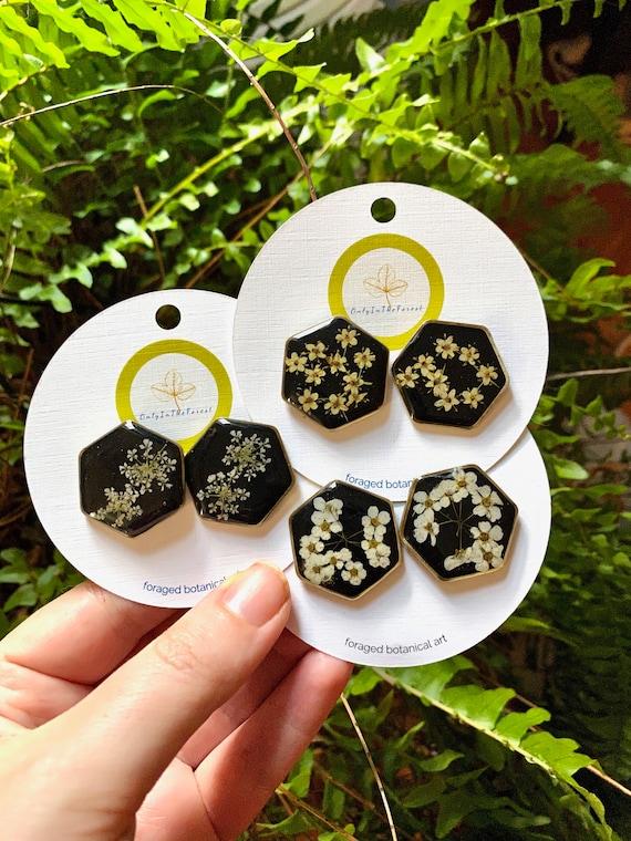 floral hexagon post earrings
