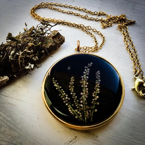 Mystery plant brass necklace