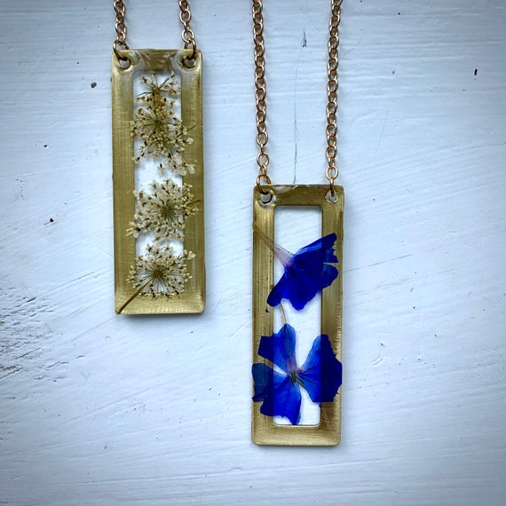 brass rectangle Queen anne's lace or plumbago necklaces