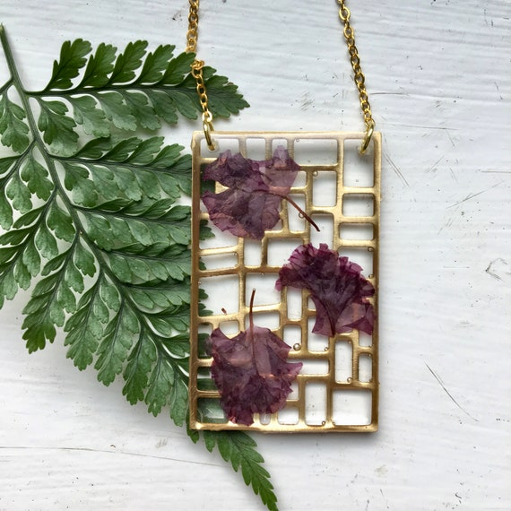 Crepe Myrtle brass filigree necklace