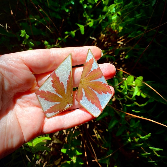 Japanese maple leaf polygon large post earrings nature boho hippie