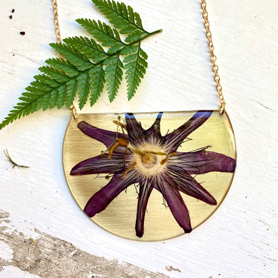 Purple passionflower statement necklace