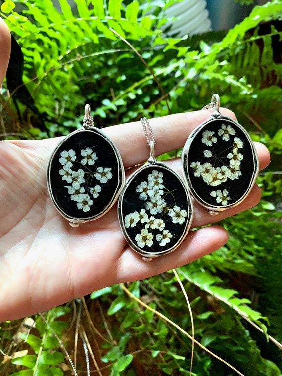 Spirea flower fancy silver necklace