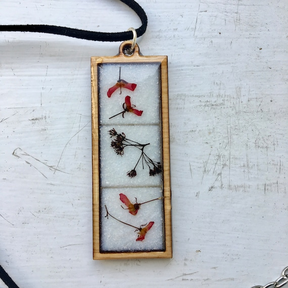 wooden bezel mosaic necklace: japanese maple