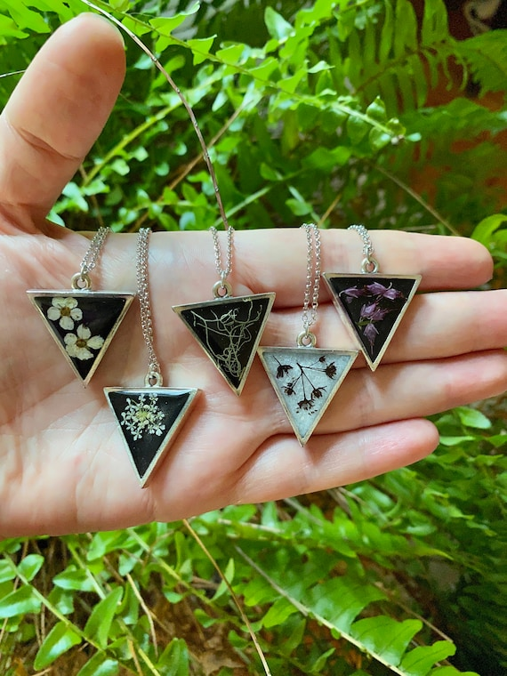 Assorted triangle silver necklaces