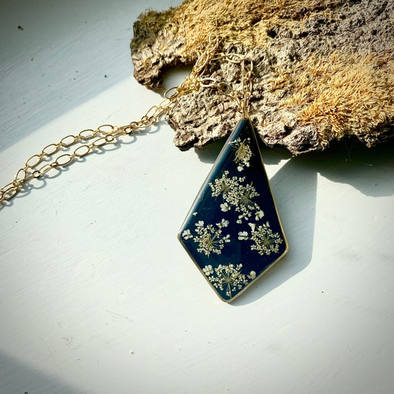 Poison hemlock flower  resin necklace