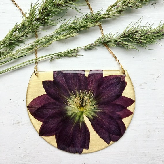 Lenten Rose brass statement necklace