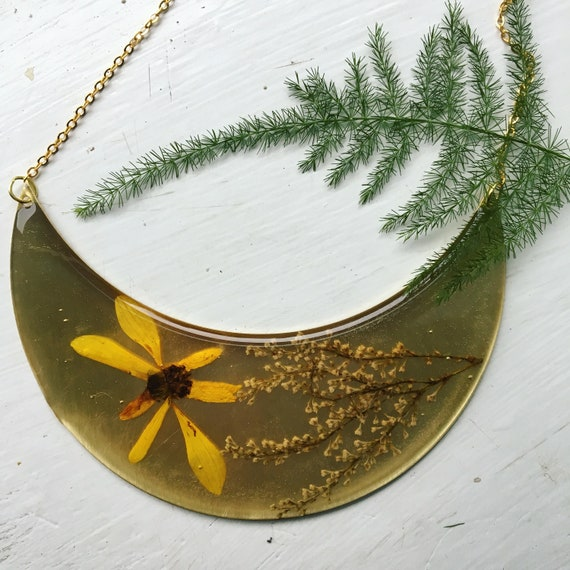 Cosmos and japanese knotweed flower large crescent necklace
