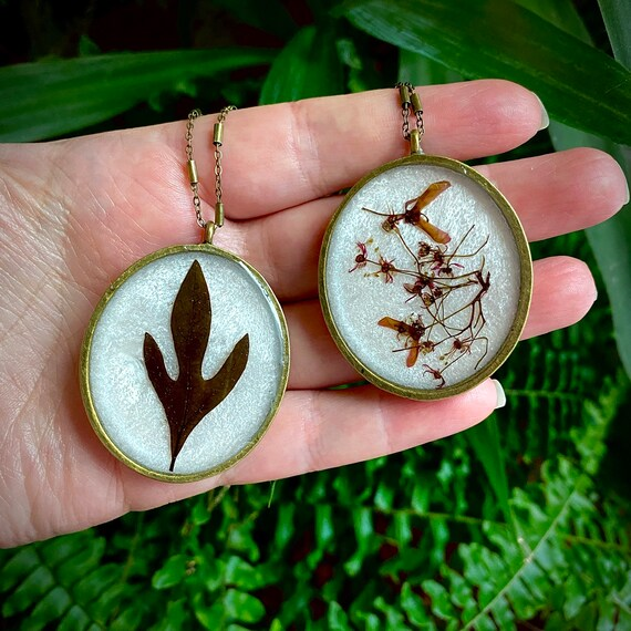 Antique bronze Sassafras and Japanese maple necklaces