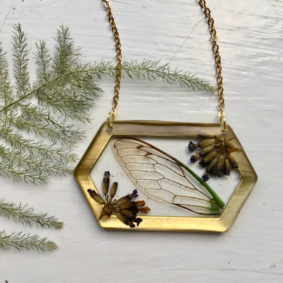 Cicada wing and lavender bud brass hexagon necklace