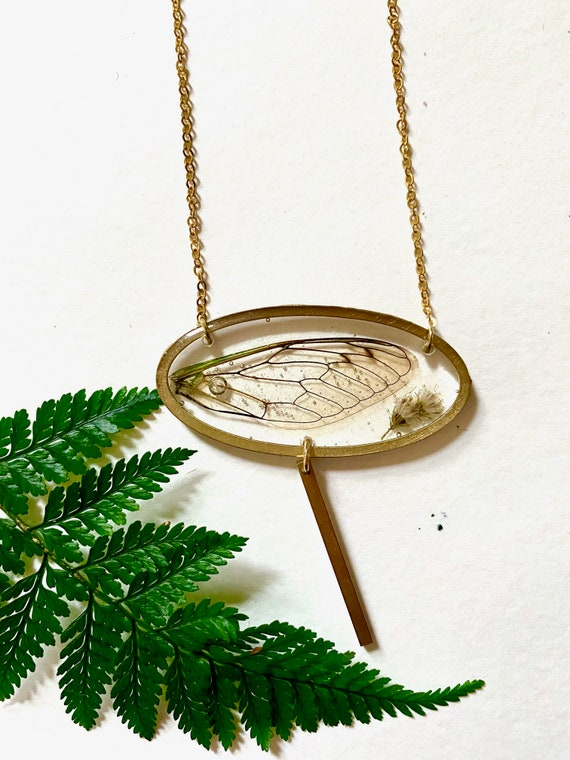 cicada wing oval necklace