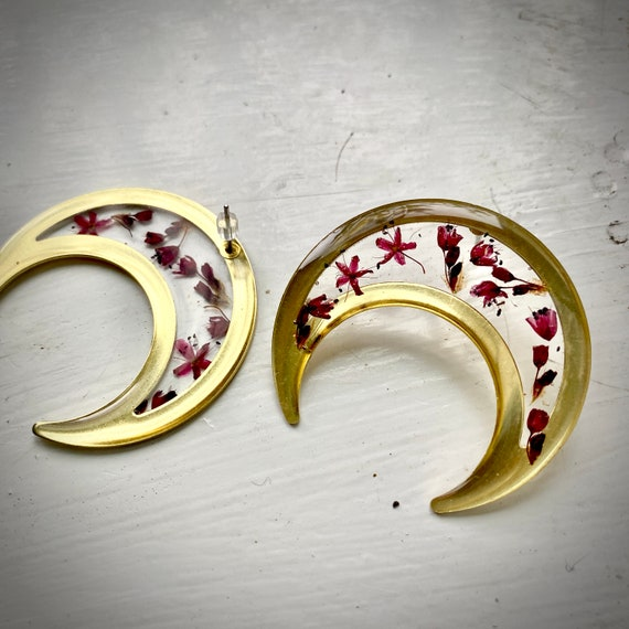 floral large crescent post earrings nature boho hippie