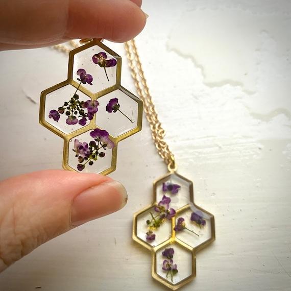 Sweet Alyssum honeycomb necklaces