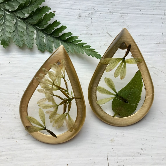 Abelia large teardrop post earrings